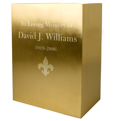 Rectangular Brushed Brass Memorial Adult 200 cu in Cremation Urns-Cremation Urns-New Memorials-Afterlife Essentials