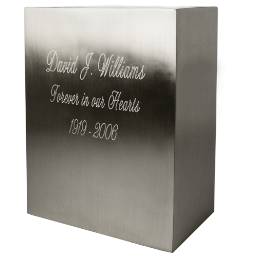Rectangular Brushed Pewter Memorial Adult 200 cu in Cremation Urn-Cremation Urns-New Memorials-Afterlife Essentials