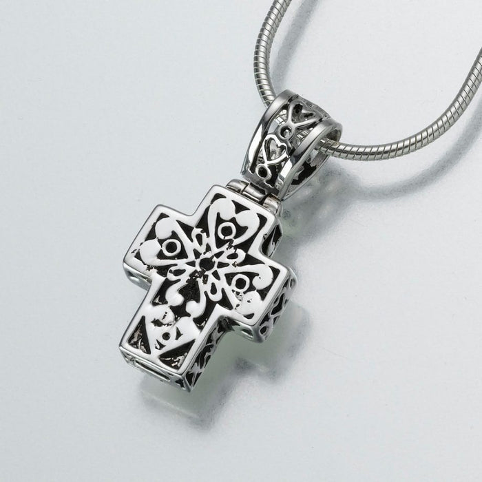 "Filigree Cross Pendant Cremation Jewelry-Jewelry-Madelyn Co-14K White Gold-Free 24"" Black Satin Cord-Afterlife Essentials"