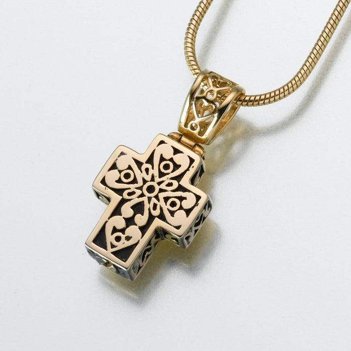 "Filigree Cross Pendant Cremation Jewelry-Jewelry-Madelyn Co-14K Yellow Gold-Free 24"" Black Satin Cord-Afterlife Essentials"