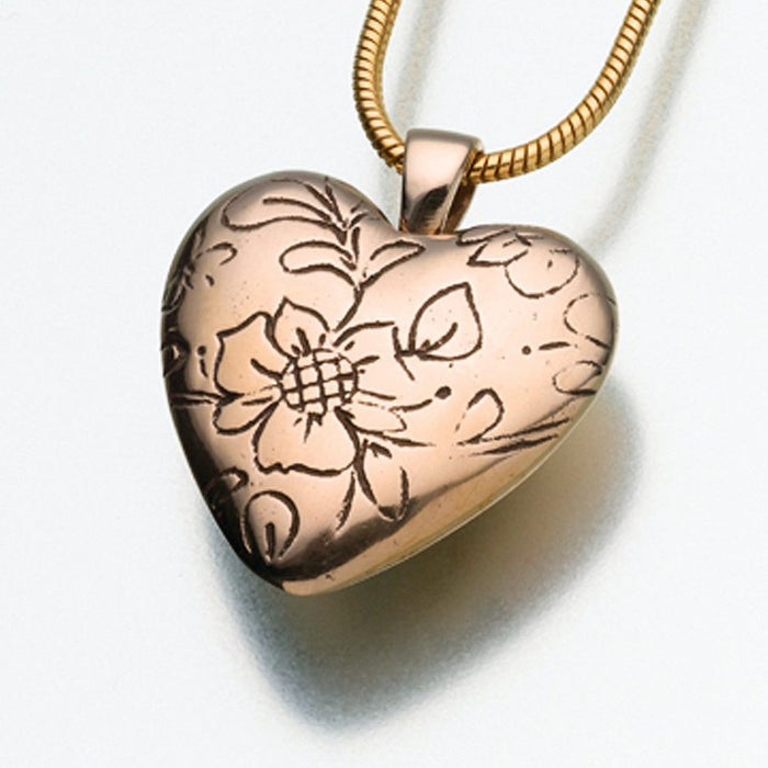 "Floral Heart Pendant Cremation Jewelry-Jewelry-Madelyn Co-Bronze-Free 24"" Black Satin Cord-Afterlife Essentials"