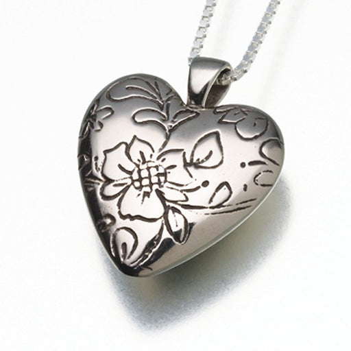 "Floral Heart Pendant Cremation Jewelry-Jewelry-Madelyn Co-White Bronze-Free 24"" Black Satin Cord-Afterlife Essentials"