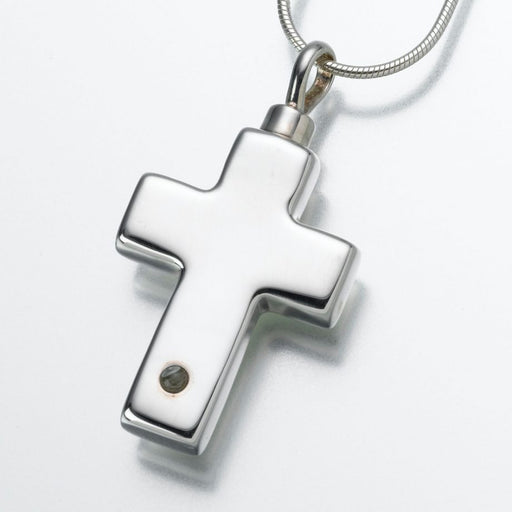 "Micro Picture Lens Sterling Silver Cross Pendant Cremation Jewelry-Jewelry-Madelyn Co-Sterling Silver-Free 24"" Black Satin Cord-Afterlife Essentials"