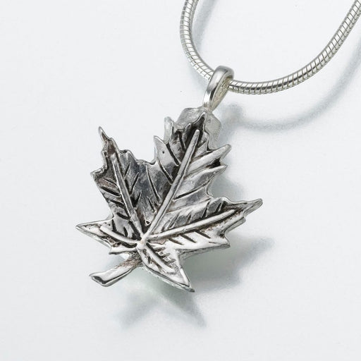 "Maple Leaf Pendant Cremation Jewelry-Jewelry-Madelyn Co-Sterling Silver-Free 24"" Black Satin Cord-Afterlife Essentials"