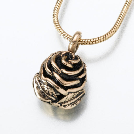 "Rose Pendant Cremation Jewelry-Jewelry-Madelyn Co-14K Yellow Gold-Free 24"" Black Satin Cord-Afterlife Essentials"