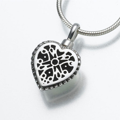 "Small Filigree Heart Pendant Cremation Jewelry-Jewelry-Madelyn Co-14K White Gold-Free 24"" Black Satin Cord-Afterlife Essentials"