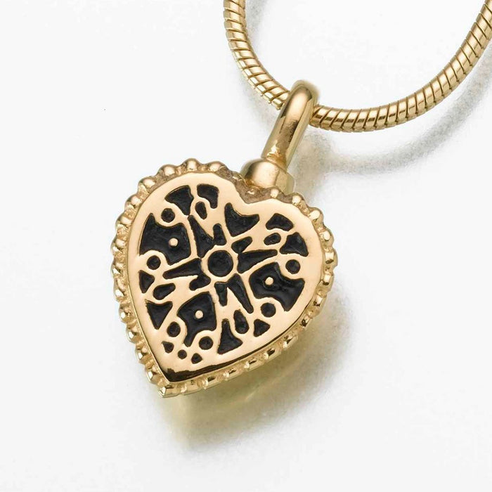 "Small Filigree Heart Pendant Cremation Jewelry-Jewelry-Madelyn Co-14K Yellow Gold-Free 24"" Black Satin Cord-Afterlife Essentials"