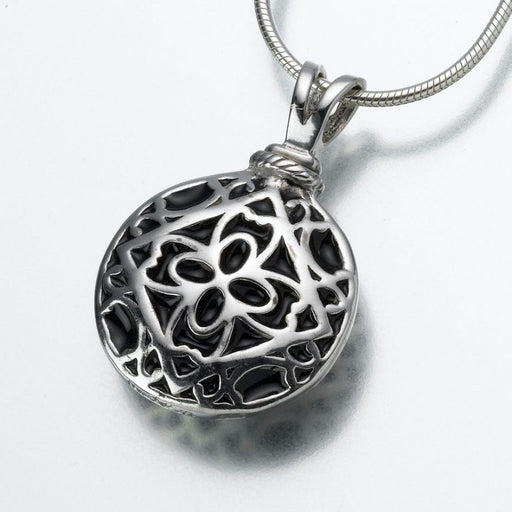 "Filigree Round Pendant Cremation Jewelry-Jewelry-Madelyn Co-14K White Gold-Free 24"" Black Satin Cord-Afterlife Essentials"