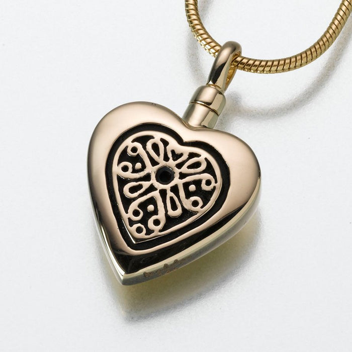 "Heart Pendant with Filigree Insert Cremation Jewelry-Jewelry-Madelyn Co-14K Yellow Gold-Free 24"" Black Satin Cord-Afterlife Essentials"