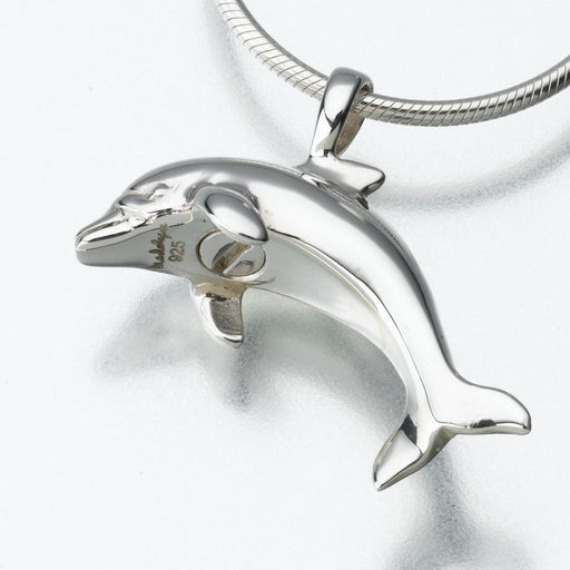"Dolphin Pendant Cremation Jewelry-Jewelry-Madelyn Co-Sterling Silver-Free 24"" Black Satin Cord-Afterlife Essentials"
