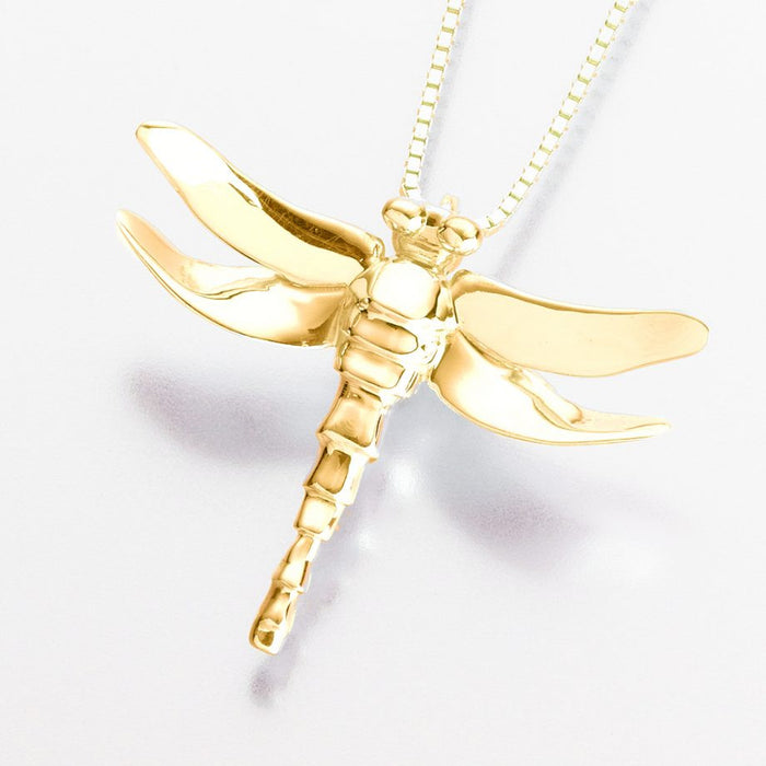 "Dragonfly Pendant Cremation Jewelry-Jewelry-Madelyn Co-Gold Vermiel-Free 24"" Black Satin Cord-Afterlife Essentials"