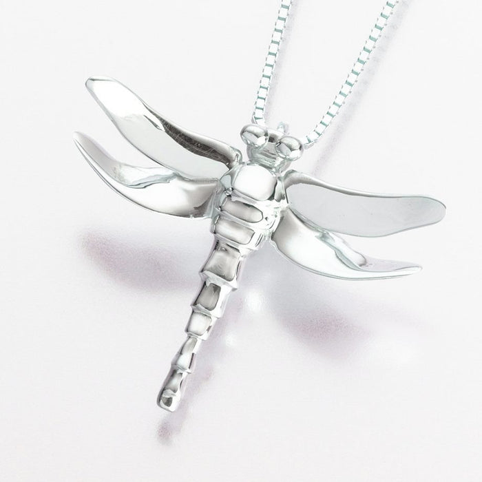 "Dragonfly Pendant Cremation Jewelry-Jewelry-Madelyn Co-14K White Gold-Free 24"" Black Satin Cord-Afterlife Essentials"