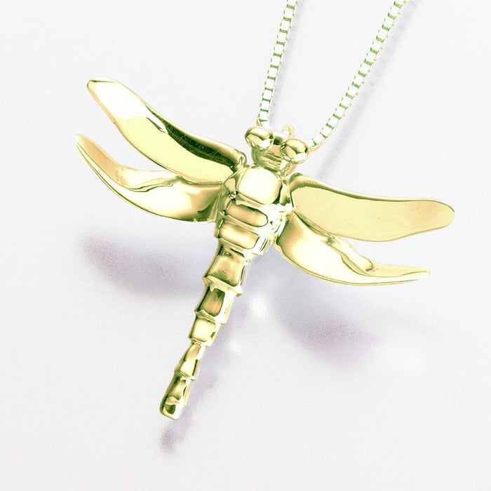 "Dragonfly Pendant Cremation Jewelry-Jewelry-Madelyn Co-14K Yellow Gold-Free 24"" Black Satin Cord-Afterlife Essentials"