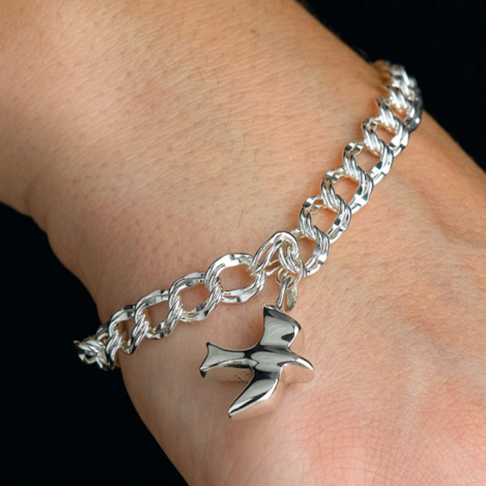 7.5 Inch Double Link Bracelet Cremation Jewelry-Jewelry-Madelyn Co-Sterling Silver-Afterlife Essentials
