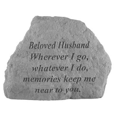 BELOVED HUSBAND Wherever I go… Memorial Gift-Memorial Stone-Kay Berry-Afterlife Essentials