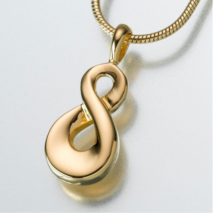 "Infinity Pendant Cremation Jewelry-Jewelry-Madelyn Co-Gold Vermiel-Free 24"" Black Satin Cord-Afterlife Essentials"