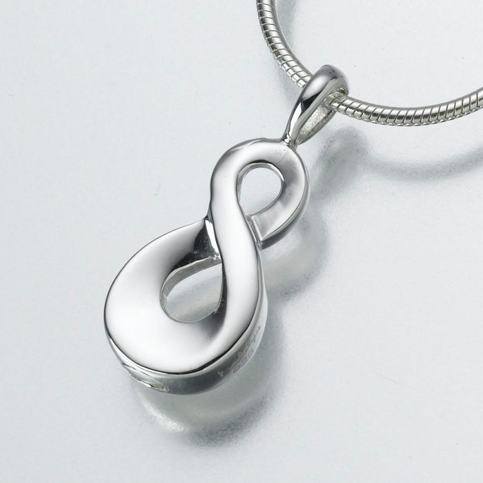"Infinity Pendant Cremation Jewelry-Jewelry-Madelyn Co-14K White Gold-Free 24"" Black Satin Cord-Afterlife Essentials"