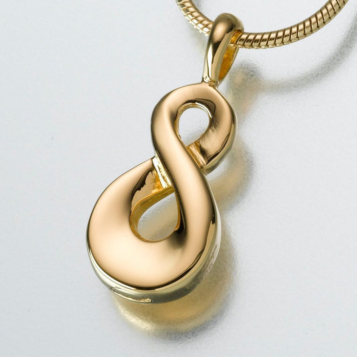 "Infinity Pendant Cremation Jewelry-Jewelry-Madelyn Co-14K Yellow Gold-Free 24"" Black Satin Cord-Afterlife Essentials"