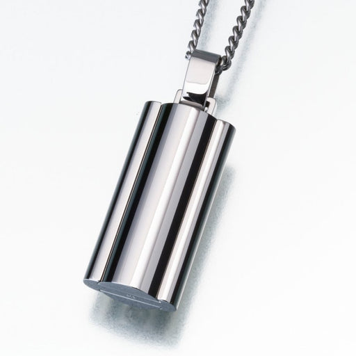 "Flask Stainless Steel Narrow Cremation Jewelry-Jewelry-Madelyn Co-Stainless Steel-Free 24"" Black Satin Cord-Afterlife Essentials"