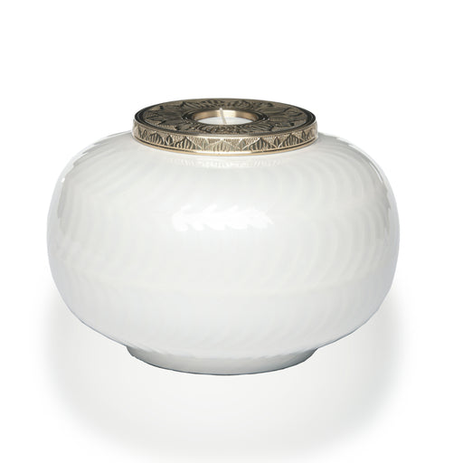 White and Gold Candle Adult Cremation Urn-Cremation Urns-Life Cycle Urns-Afterlife Essentials