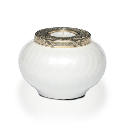 White and Gold Candle Keepsake Cremation Urn-Cremation Urns-Life Cycle Urns-Afterlife Essentials