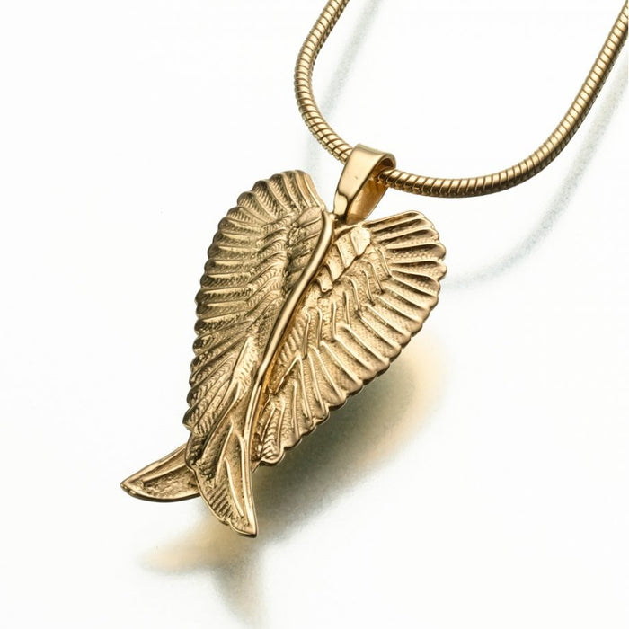 "Angel Wings Pendant Cremation Jewelry-Jewelry-Madelyn Co-Gold Vermiel-Free 24"" Black Satin Cord-Afterlife Essentials"