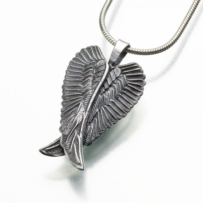 "Angel Wings Pendant Cremation Jewelry-Jewelry-Madelyn Co-Sterling Silver-Free 24"" Black Satin Cord-Afterlife Essentials"