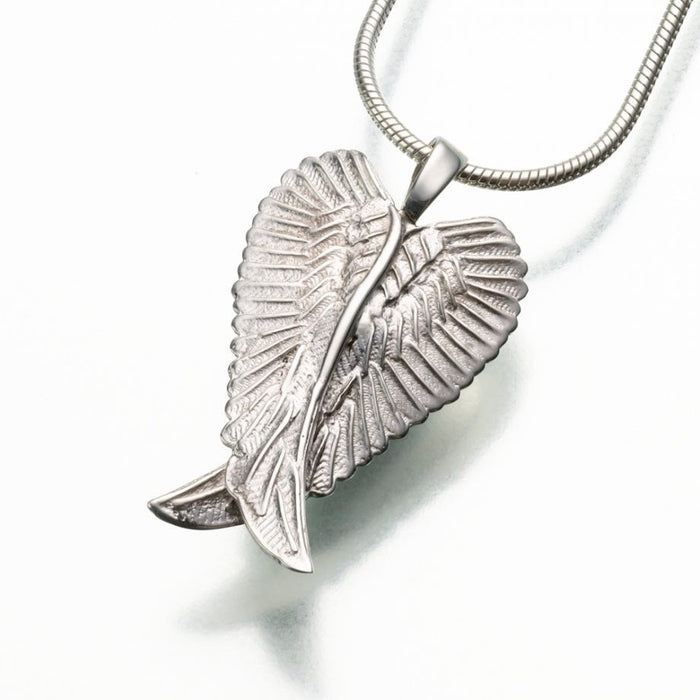 "Angel Wings Pendant Cremation Jewelry-Jewelry-Madelyn Co-14K White Gold-Free 24"" Black Satin Cord-Afterlife Essentials"