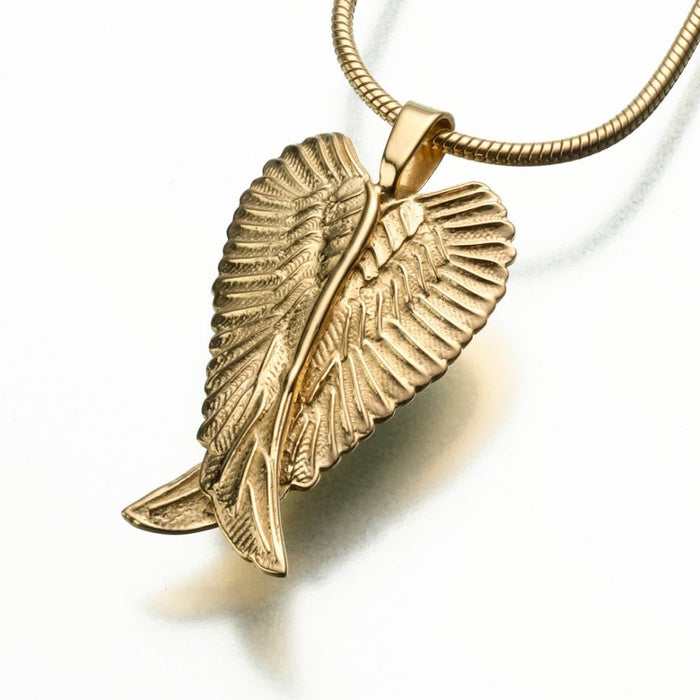 "Angel Wings Pendant Cremation Jewelry-Jewelry-Madelyn Co-14K Yellow Gold-Free 24"" Black Satin Cord-Afterlife Essentials"