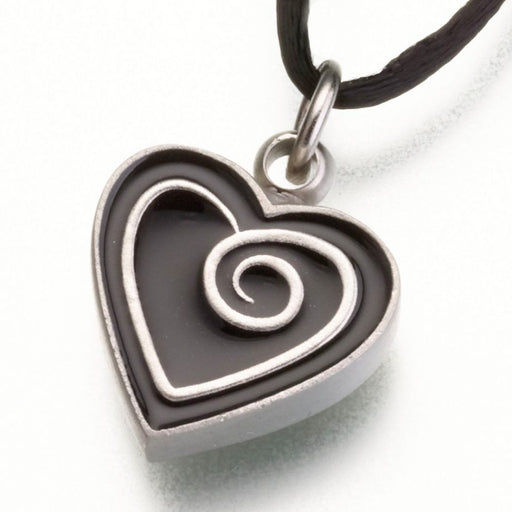 "Pewter Heart Pendant with Enamel Spiral Cremation Jewelry-Jewelry-Madelyn Co-Pewter-Black-Free 24"" Black Satin Cord-Afterlife Essentials"