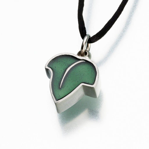 "Pewter Leaf Pendant with Green Enamel Cremation Jewelry-Jewelry-Madelyn Co-Pewter-Free 24"" Black Satin Cord-Afterlife Essentials"