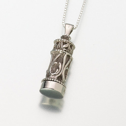 Small Chromate Filigree Cylinder Pendant Cremation Jewelry-Jewelry-Afterlife Essentials-Afterlife Essentials