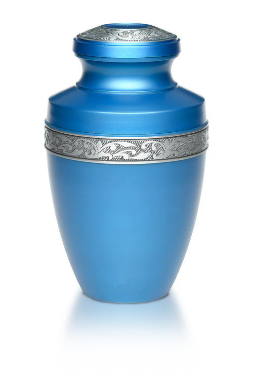 Alloy in Ocean Blue with Pewter Band Adult 200 cu in Cremation Urn-Cremation Urns-Bogati-Afterlife Essentials