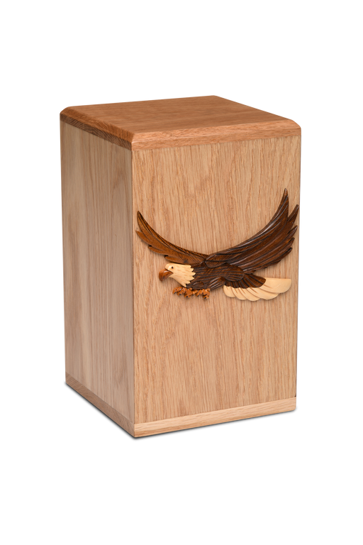 Solid Oak Urn with Artisan Applique Design – Adult – American Eagle-Cremation Urns-Bogati-Afterlife Essentials