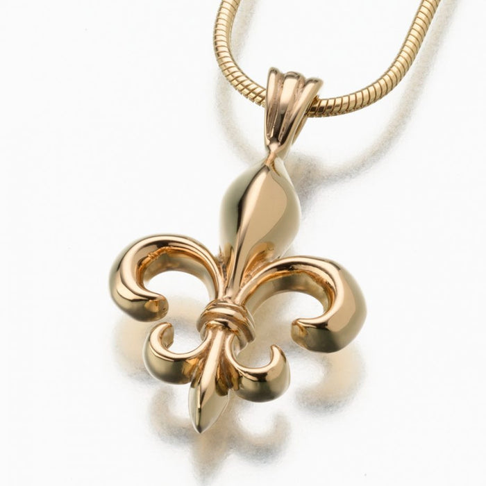 "Fleur de Lis Pendant Cremation Jewelry-Jewelry-Madelyn Co-Gold Vermiel-Free 24"" Black Satin Cord-Afterlife Essentials"