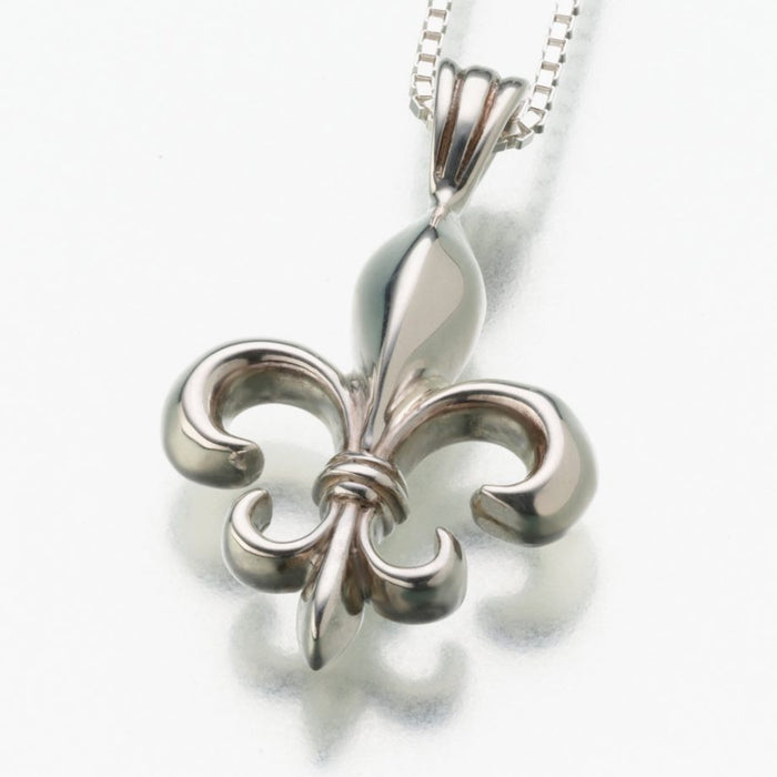 "Fleur de Lis Pendant Cremation Jewelry-Jewelry-Madelyn Co-Sterling Silver-Free 24"" Black Satin Cord-Afterlife Essentials"