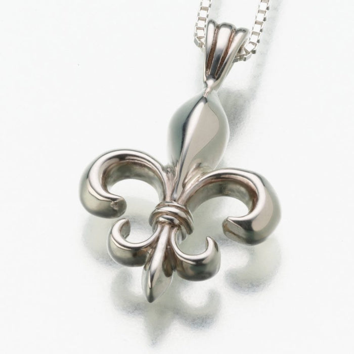 "Fleur de Lis Pendant Cremation Jewelry-Jewelry-Madelyn Co-14K White Gold-Free 24"" Black Satin Cord-Afterlife Essentials"