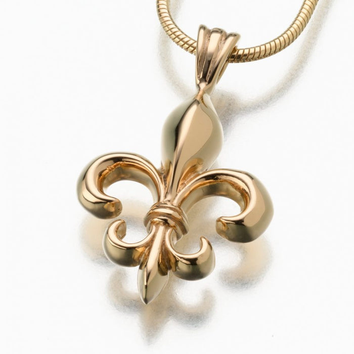 "Fleur de Lis Pendant Cremation Jewelry-Jewelry-Madelyn Co-14K Yellow Gold-Free 24"" Black Satin Cord-Afterlife Essentials"