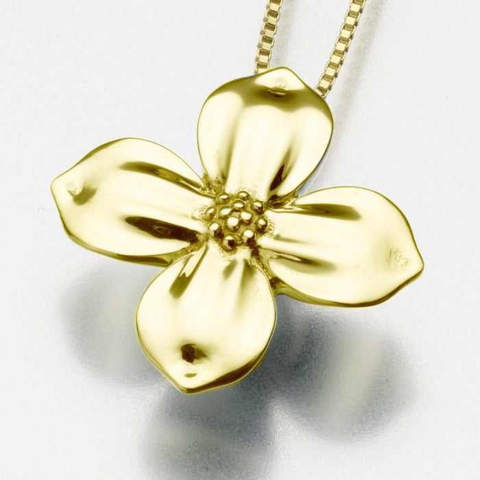 "Blossom Pendant Cremation Jewelry-Jewelry-Madelyn Co-Gold Vermiel-Free 24"" Black Satin Cord-Afterlife Essentials"