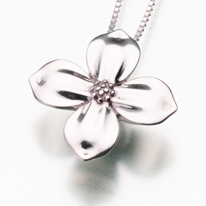 "Blossom Pendant Cremation Jewelry-Jewelry-Madelyn Co-14K White Gold-Free 24"" Black Satin Cord-Afterlife Essentials"