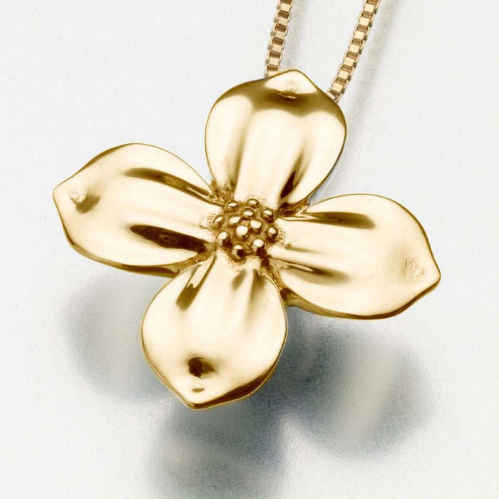 "Blossom Pendant Cremation Jewelry-Jewelry-Madelyn Co-14K Yellow Gold-Free 24"" Black Satin Cord-Afterlife Essentials"