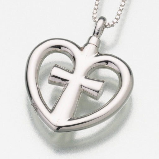 "Love Cross Pendant Cremation Jewelry-Jewelry-Madelyn Co-Sterling Silver-Free 24"" Black Satin Cord-Afterlife Essentials"