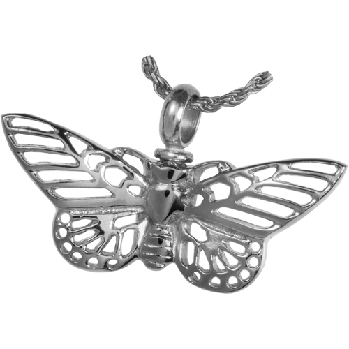 Butterfly Pendant Cremation Jewelry-Jewelry-New Memorials-Nickel-Plated Stainless Steel-Free Black Satin Cord-Afterlife Essentials