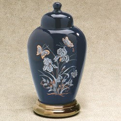 Irises Series Navy Ceramic 233 cu in Cremation Urn-Cremation Urns-Infinity Urns-Afterlife Essentials