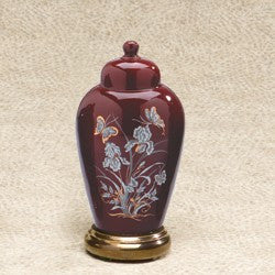 Irises Series Burgundy Ceramic 23 cu in Cremation Urn-Cremation Urns-Infinity Urns-Afterlife Essentials