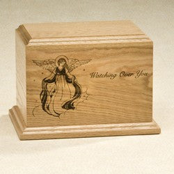 Watching Over You 200 cu Solid Oak with Vignette Of Angel Wooden Cremation Urn