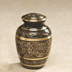 Gee Motif Brass Small 43 cu in Cremation Urn-Cremation Urns-Infinity Urns-Afterlife Essentials