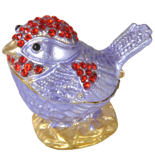 Lavender Bird With Red Crystals Urn Keepsake - Afterlife Essentials