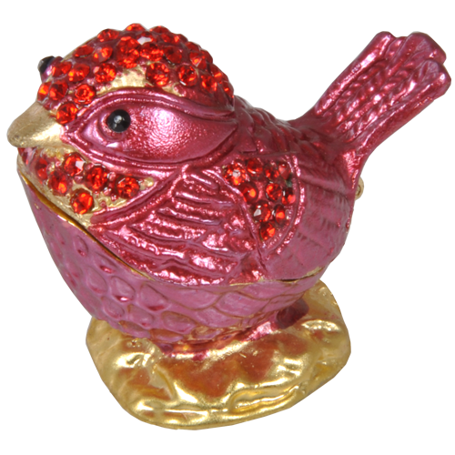 Dark Rose Pink Bird With Red Crystals Urn Keepsake - Afterlife Essentials