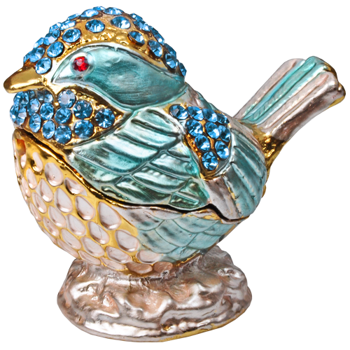 Bird Sky Blue and Gold Mini Figurine Cremation Urn Keepsake-Cremation Urns-New Memorials-Afterlife Essentials